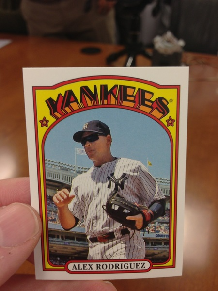 Inserts in @ToppsCards Series 1 Baseball: 1972 Minis. Alex Rodriguez (shown life size)