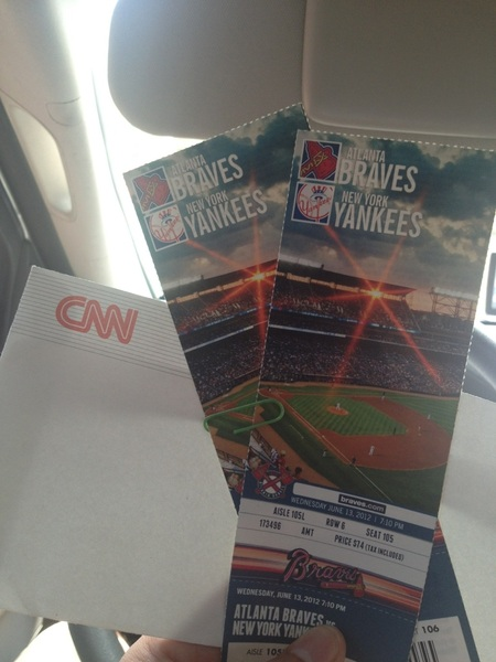 Vacation is off & running in ATL, @braves /Yankees 1 of 9 parks on this trip, thanks Mr. Ted Turner 4 the tix