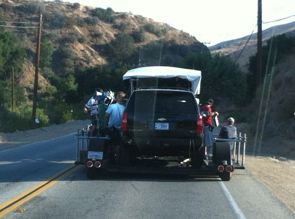 This is one way we film car scenes...