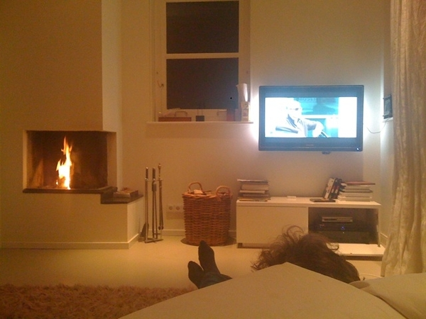 Chill evening with movie and fireplace