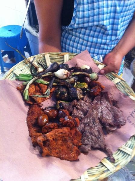 Oaxaca Market: bfast platter mesquite-grilled chorizo, tasajo, cecina, chiles de agua, knob onions