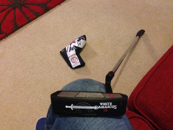 My putter is selected for the week. It is an Odyssey White Damascus. Rolling it very nice. Testing over for now.
