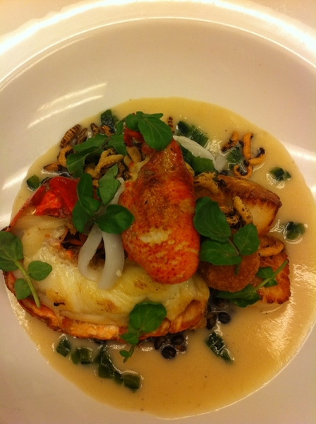 Another poss new dish 4Topolo:lobster/scallop/cod croquet w bl barley,young coco,wild rice,poblano,creamy sunchoke