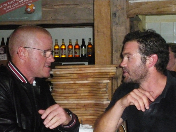 Heston Blumenthal and The Stable Chef and Manager, Andy Briggs chatting about our delicious pizzas