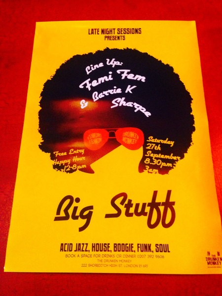 Posters for Late Night w/t @FemiFem & Barrie @SHARPEYE_STYLE up in the bar! Exciting stuff @MiSoulTweets #Shoreditch