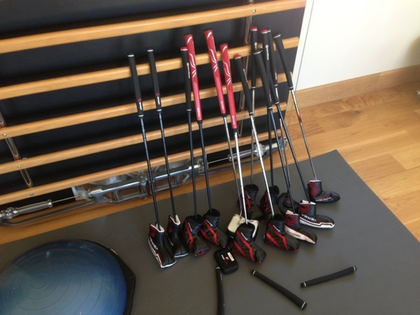 A few new weapons to test on the putting green. Odyssey and Taylormade putters are the first to arrive. #TheOpen