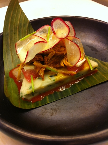 Yuc Menu #2: tamale colado (garlic chives, epazote), clay-baked turkey pibil, pkld red onion&crema gelatinas