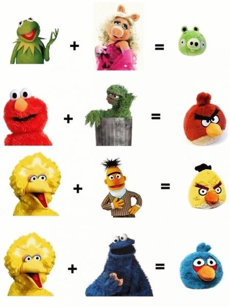 Angry Birds zijn ontstaan uit The Muppets en uit Sesamstraat