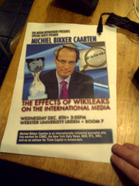 Woensdag 15.00 praat michiel bikkercaarten over wikileaks & internationale media @webster leiden. Leuk verhaal denk ik