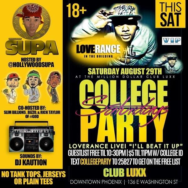 LOVERANCE tonight at 18+ #CollegePartySaturdays at Club Luxx! 136 E Washington St! Text COLLEGEPARTY to 25827 (list)