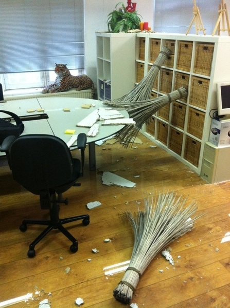 While America suffers from earthquakes, our office suffers from leakage.
