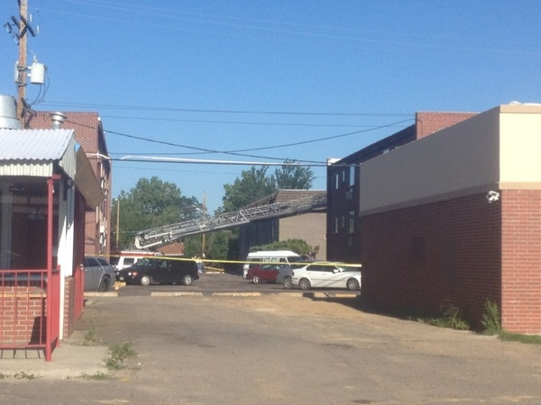 [PIC] what it looks like right now at the apartment complex on the ground.  #theatershooting