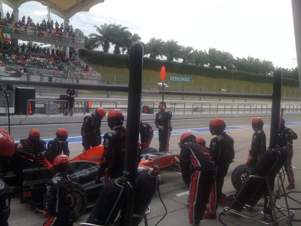 View from the pits of a pitstop  #f1