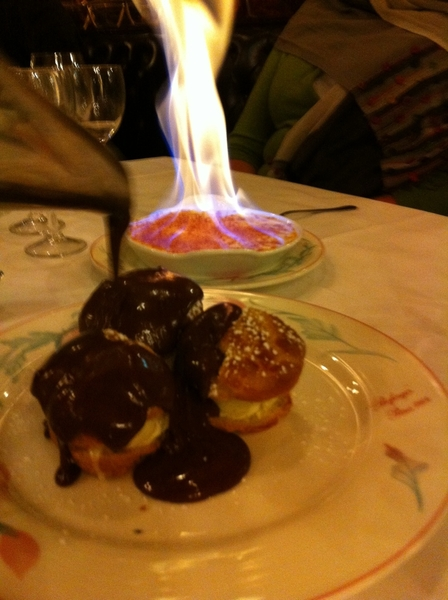 Bofinger:  classic profiteroles and a drop-dead delicious creme brûlée that's flamed at the table