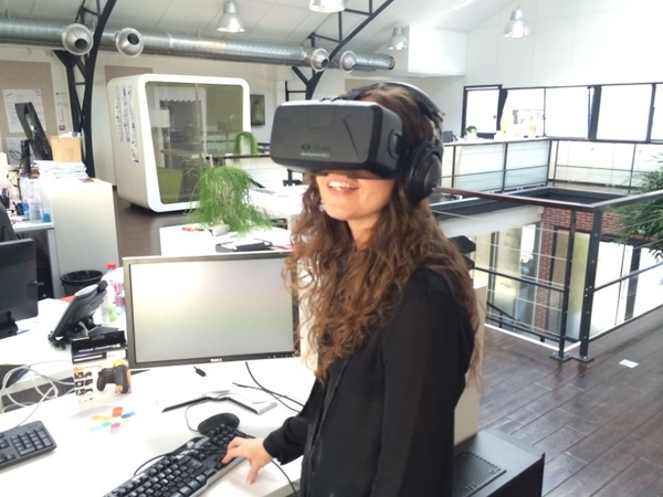 #Oculus is high on agenda at  #iGen2014. What does it look like? Here's @CFougeres @Inn_Tweets wearing at  @UR_LAB