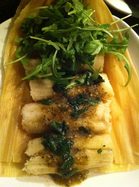 New Frontera Menu 2nite: highlight#1:tamales of homemade ricotta & hoja santa. Salsa verde.