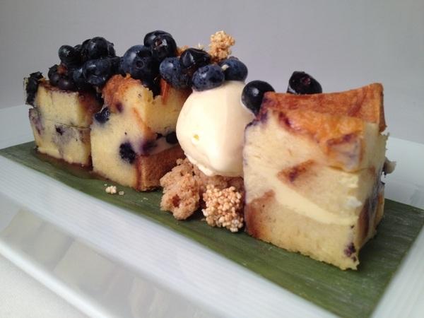 New Frontera menu: warm blueberry bread pudding, sour orange ice cream, blueberry salsa
