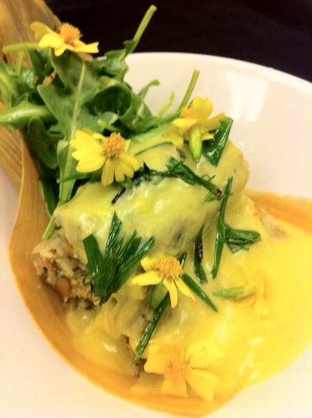 Tasting new Frontera menu possibilities w chef Richard: poblano-p'seed tamales, squash bloss sauce.