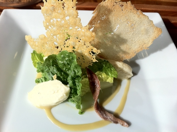 Tijuana Culinary Arts School: this student creation was gr8: Parmesan espuma,classic dressing, parm & bread crisps