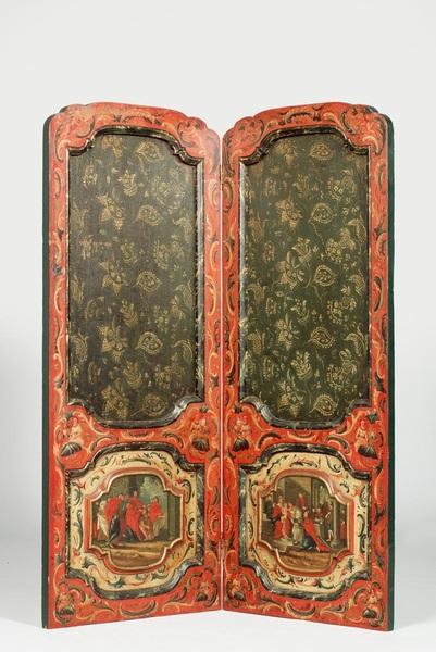 Kamerscherm samengesteld uit Hindelooper bedsteedeurtjes uit de eerste helft van de 18de eeuw