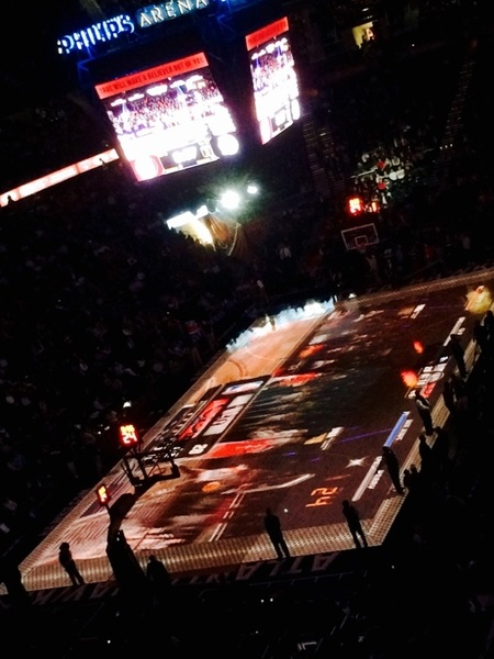 At @ATLHawks game, NBA Jam played on the court at halftime.