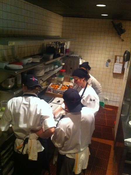 Our pastry station working on the plating of a new dessert