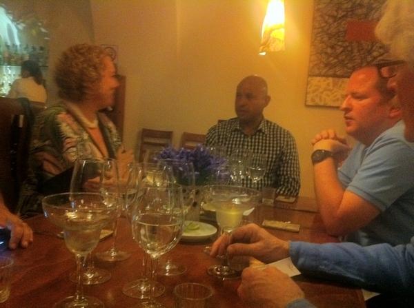 Pitiyona (Oax) highlights: b'ful contemp resto: som Jill, partner Carlos, mgr Matt enjoy pitiyona-Mezcal cocktail