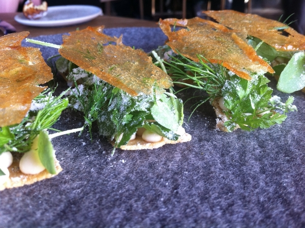 Noma: standout snack#4: Toast topped w smoked codfish roe cream, herb tangle, dehydro skin off duck stock